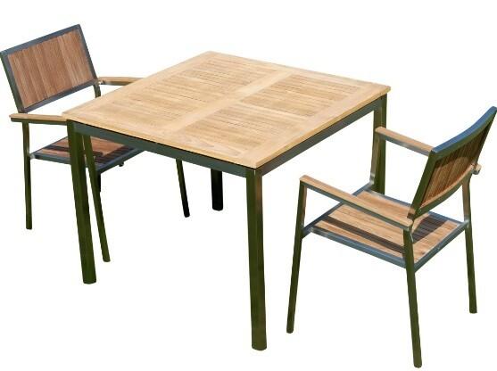VRTNA GARNITURA KUBA – TEAK A RAZRED + INOX miza 90x90 cm + 2x stola