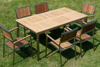VRTNA GARNITURA KUBA–TEAK A RAZRED + INOX miza 160x90c +6x stoli
