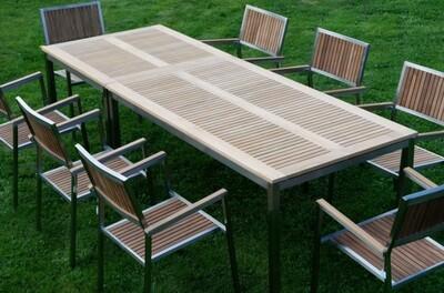 VRTNA GARNITURA KUBA–TEAK A RAZRED + INOX miza 160x90cm+miza 90x90cm+8x stoli