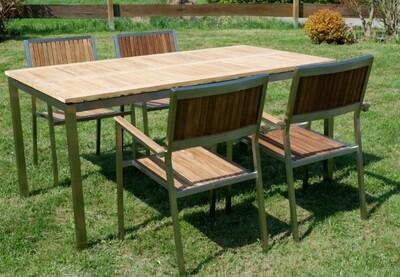 VRTNA GARNITURA KUBA–TEAK A RAZRED + INOX miza 160x90cm+4x stoli
