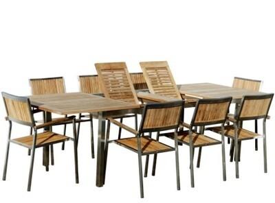 VRTNA GARNITURA KUBA–TEAK A RAZRED + INOX raztegljiva miza 200-280x100cm+8x stoli