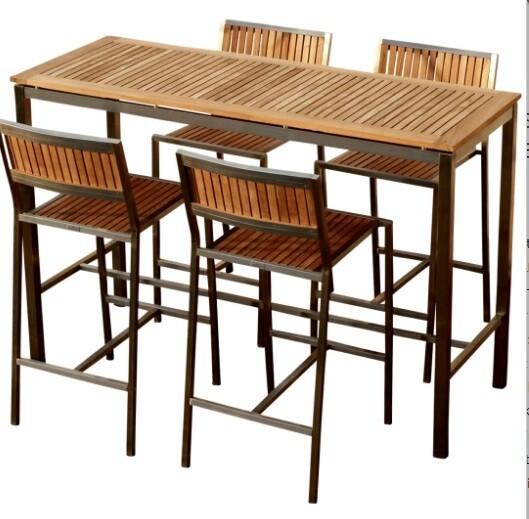 BAR SET VRTNA GARNITURA MEXICO–TEAK A RAZRED + INOX mizica 160x60 + 4xbarski stol