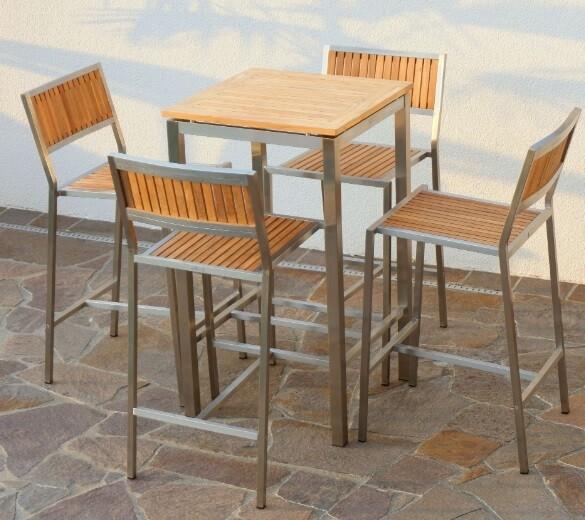 BAR SET VRTNA GARNITURA MEXICO–TEAK A RAZRED + INOX mizica 60x60 + 4 x barski stol