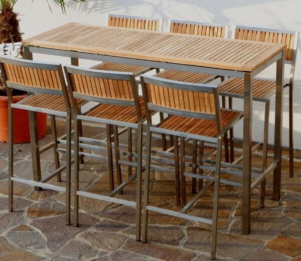 BAR SET VRTNA GARNITURA MEXICO–TEAK A RAZRED + INOX mizica 160x60 + 6x barski stol