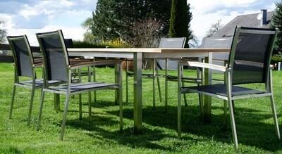 VRTNA GARNITURA KUBA - črna–TEAK A RAZRED + INOX raztegljiva miza 160/220x90 +6x stoli