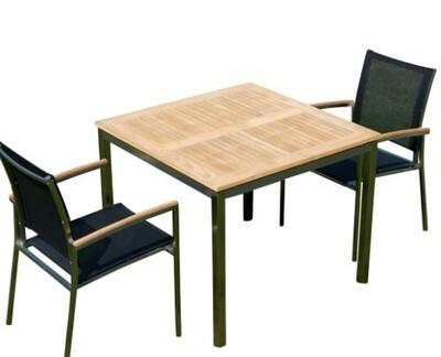 VRTNA GARNITURA KUBA - črna–TEAK A RAZRED + INOX miza 90x90 +2x stol