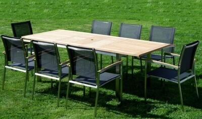 VRTNA GARNITURA KUBA - črna–TEAK A RAZRED + INOX raztegljiva miza 160/220x90 +8x stoli