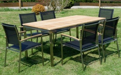 VRTNA GARNITURA KUBA - črna–TEAK A RAZRED + INOX miza 160x90 +6x stol