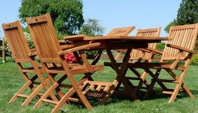 TEAK SET JAV AVES vrtna garnitura - izvlečna miza 100-140 x 80 cm + 4 zložljivi stoli z nasloni za roke