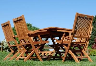 TEAK SET JAV AVES vrtna garnitura - izvlečna miza 100-140 x 80 cm + 6 x zložljivi stoli z nasloni za roke