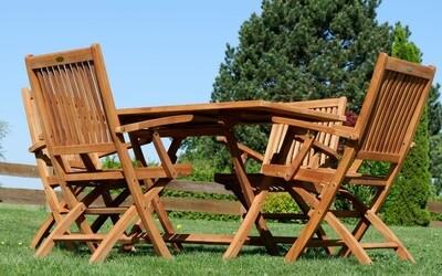 TEAK SET JAV AVES vrtna garnitura -  miza 120 x 70 cm + 4 x zložljivi stoli z nasloni za roke