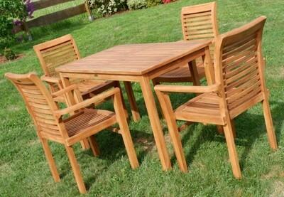 TEAK SET JAV ALPEN vrtna garnitura -  miza 120 x 70 cm + 4 x zložljivi stoli z nasloni za roke