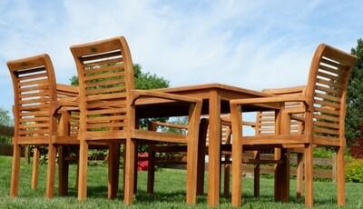 TEAK SET JAV ALPEN vrtna garnitura -  miza 150 x 80 cm + 6 x zložljivi stoli z nasloni za roke