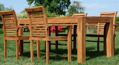 TEAK SET JAV ALPEN vrtna garnitura  VELIKA NOGA-  miza 180 x 90 cm + 6 x zložljivi stoli z nasloni za roke