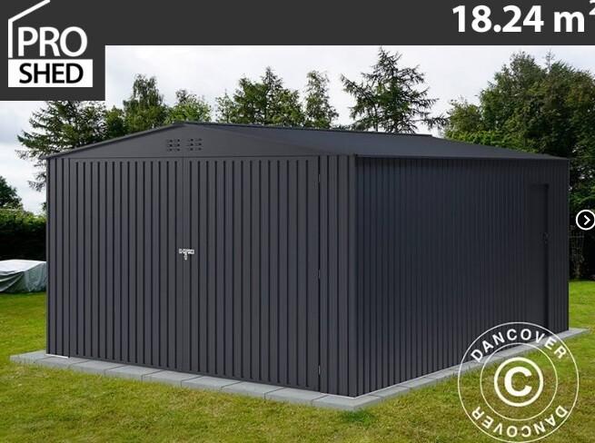 ProShed® - Kovinska garaža – lopa – hiška – 18,24m2 - antrazit, siva