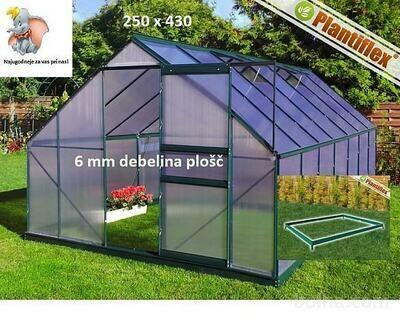 Plantiflex® Rastlinjak 250 x 430 cm -ZELEN - 6 mm PLOŠČE