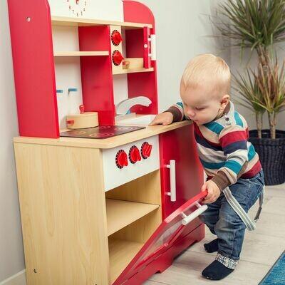 Otroška kuhinja – rdeča, oranžna, vijolična