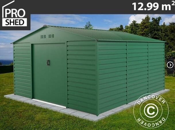 ProShed® Classic Kovinska vrtna hiška – uta – 12,99 m2 - siva, zelena, antrazit