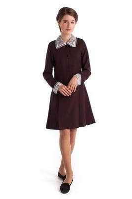 Платье школьное с воротником коричневое