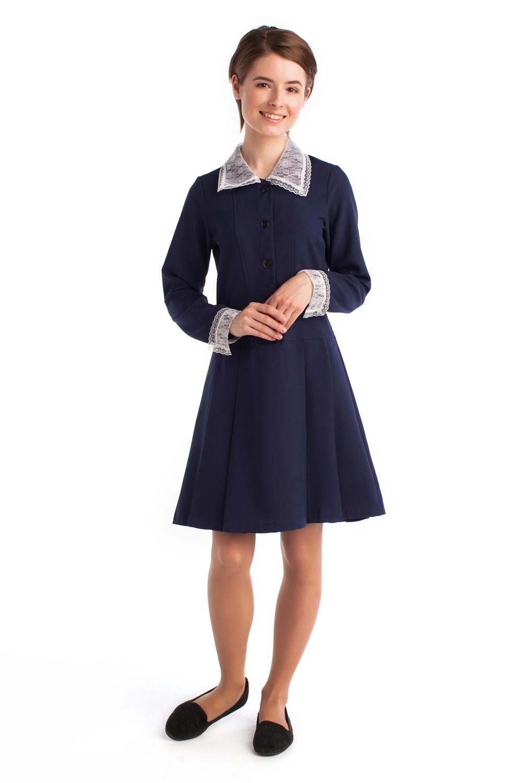 Платье школьное с воротником синее