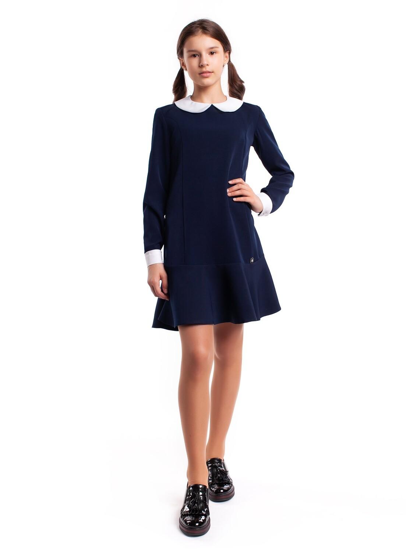 """Платье школьное синее """"Ева"""" съемный воротник"""