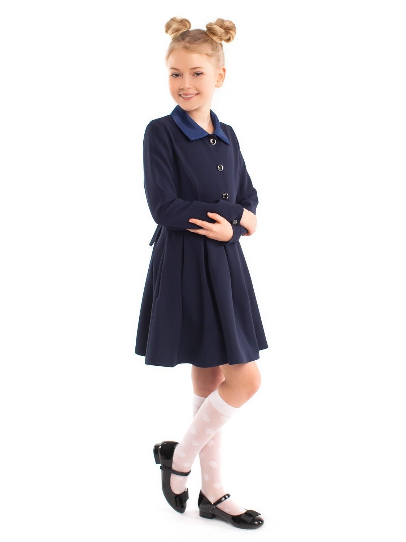 """Платье школьное """"Кира"""" длинный рукав синее"""
