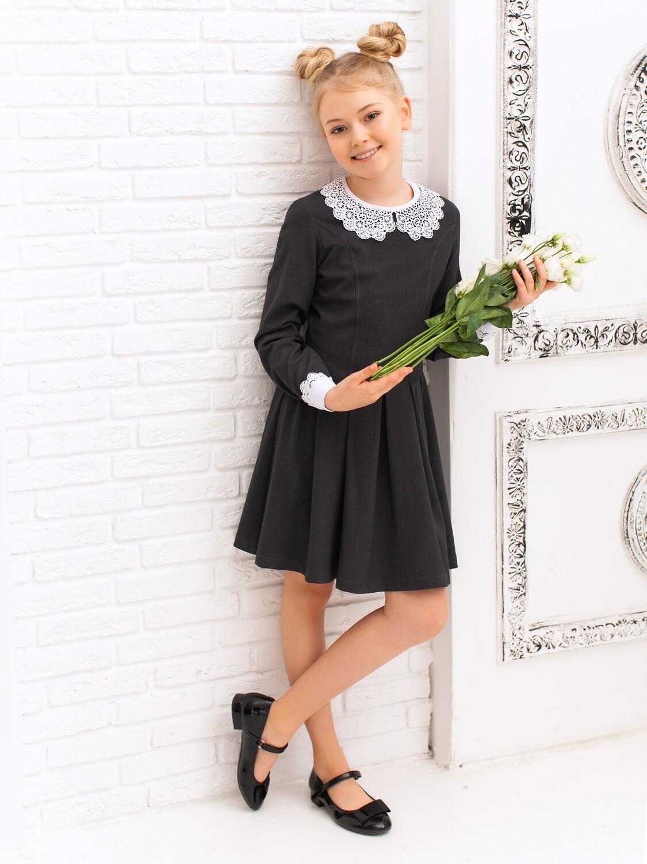 """Платье школьное """"Майя"""" длинный рукав серое"""