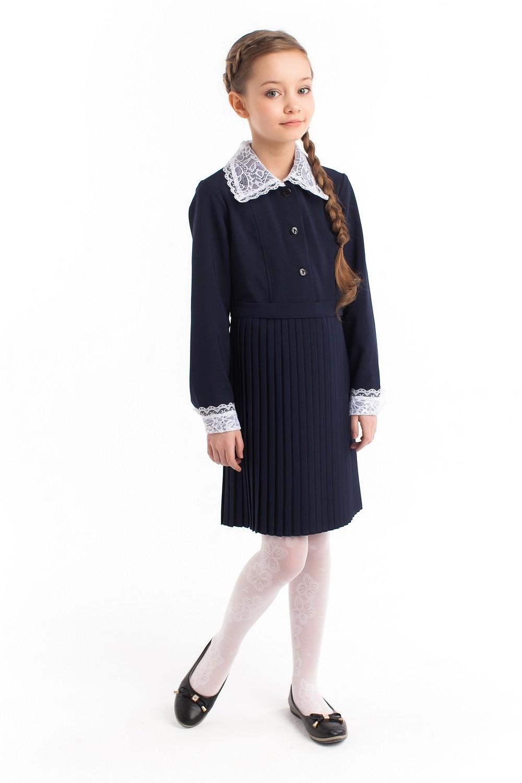 """Платье школьное с воротником """"Плиссе"""" синее длинный рукав"""