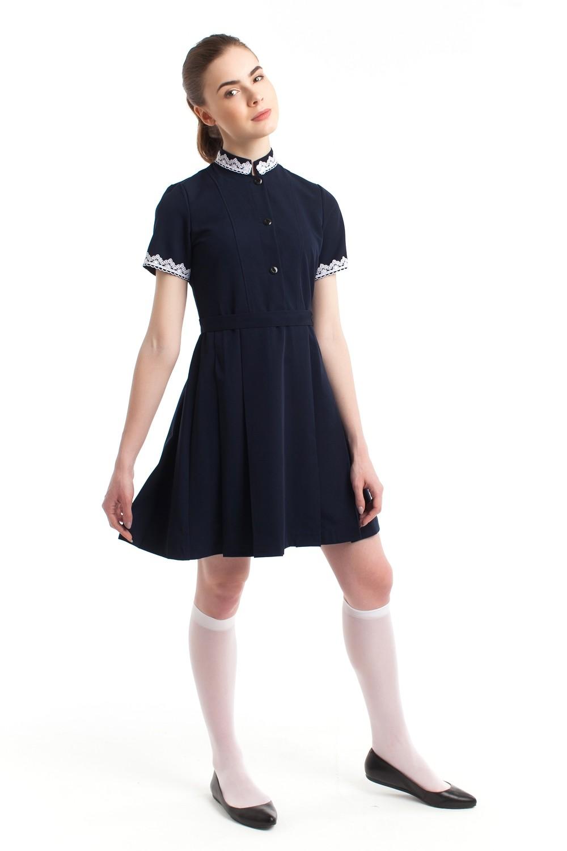 Платье школьное синее из поливискозы