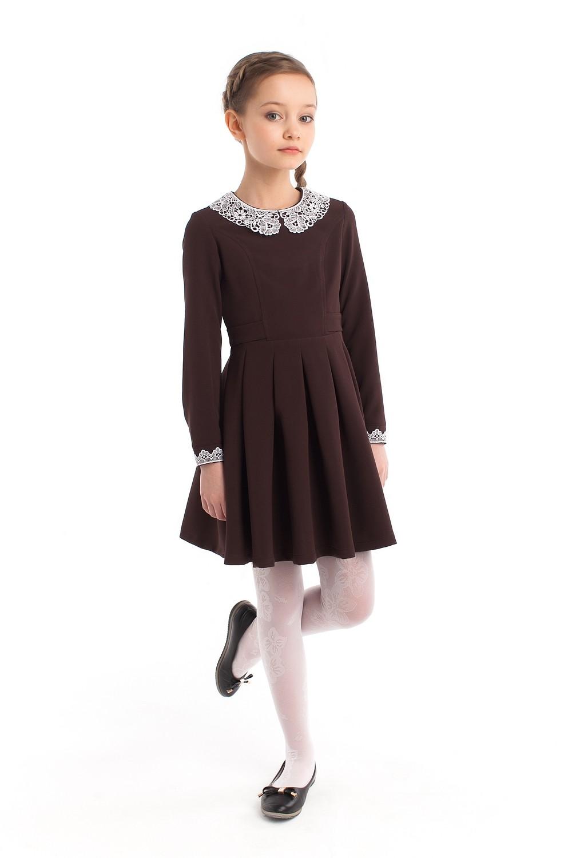 """Платье школьное """"Полинка"""" длинный рукав коричневое"""