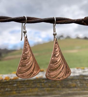 Copper Tapered Teardrop Earrings