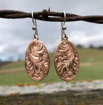 Copper Oval Earrings