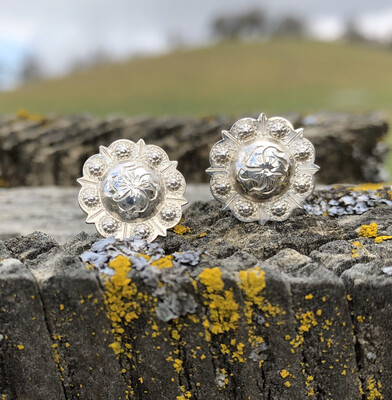 Sterling Silver Scallop & Point Concho Earrings