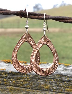 Copper Open Teardrop Earrings