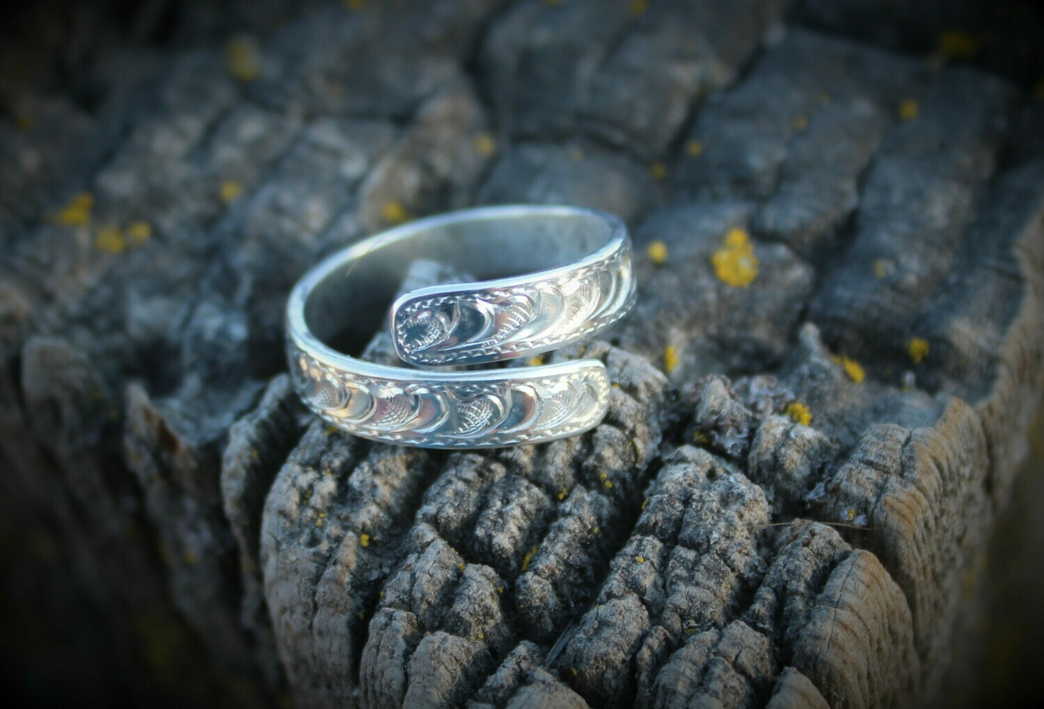 Sterling Silver Engraved Wrap Ring