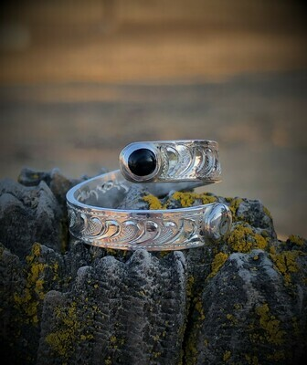 Sterling Silver Wrap Ring with Black Onyx