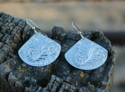 Sterling Silver Fan dangle earrings
