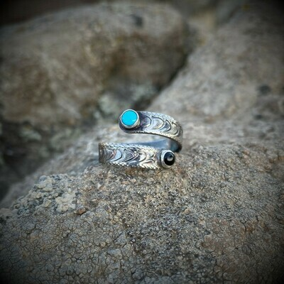 Sterling Silver Wrap Ring with Black Onyx and Turquoise, Antique Finish