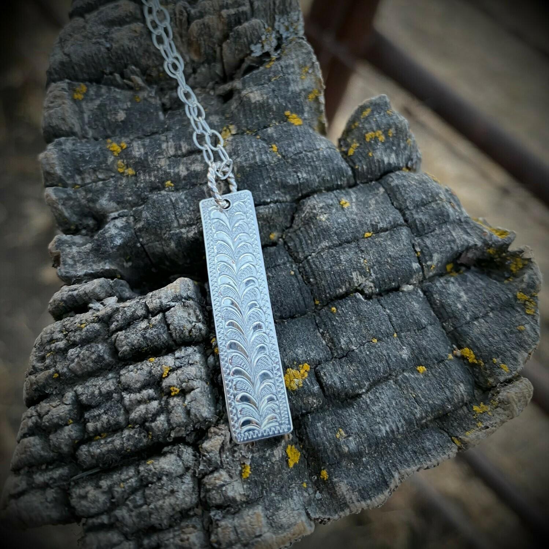 Vertical Engraved Bar Necklace