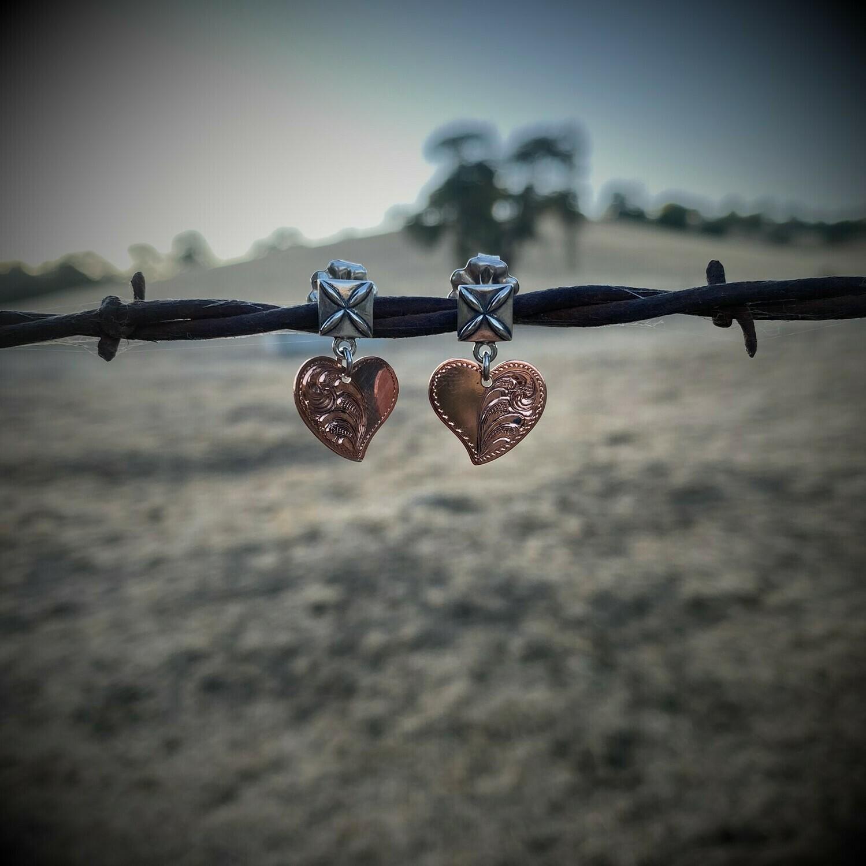 Copper Heart Post Earrings