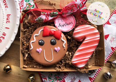 Gingerbread Girl & Candy Cane  (2 Cookies)