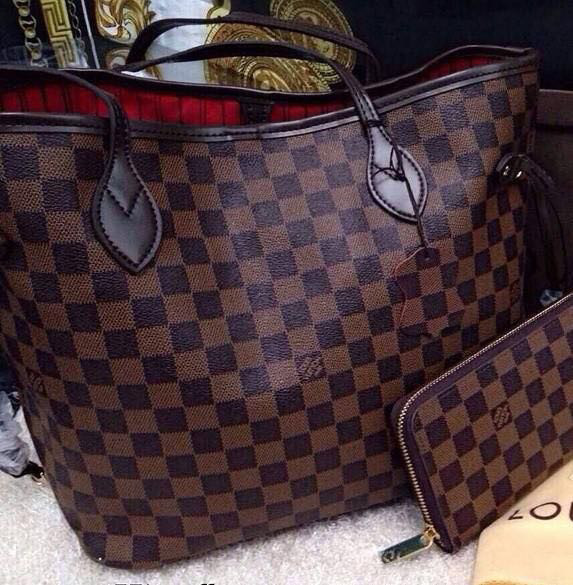 NEW BROWN CHECKERED GENUINE LEATHER AAAAA QUALITY BIG 40CM HANDBAG