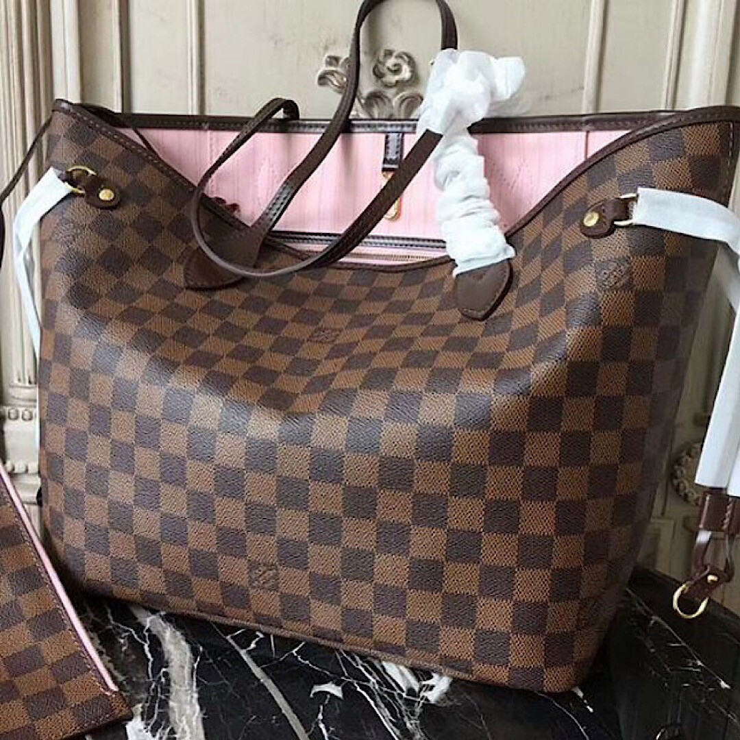 NEW GENUINE LEATHER CHECKERED PINK INSIDE BIG 40CM AAAAA QUALITY HANDBAG