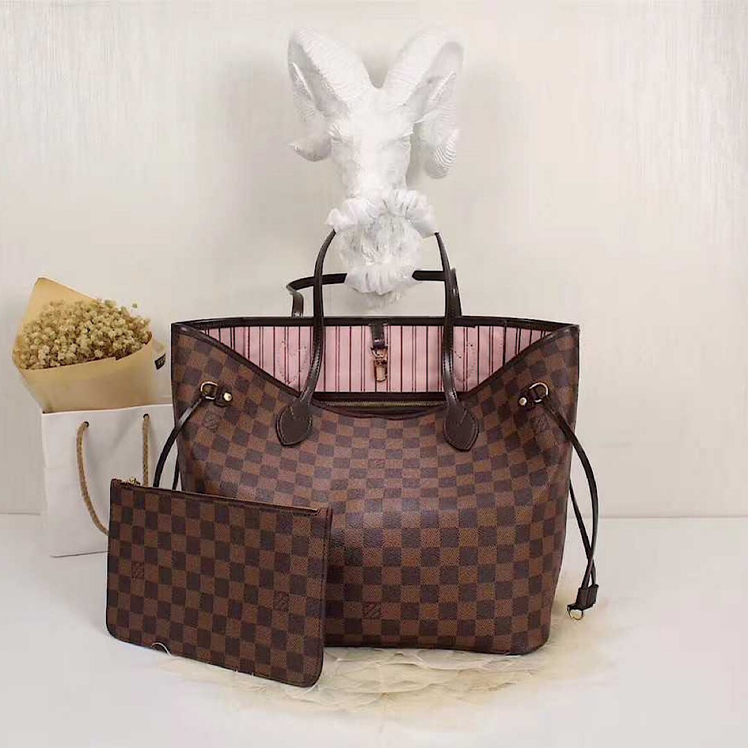 NEW HIGH QUALITY CHECKERED PINK INSIDE BIG 40CM HANDBAG