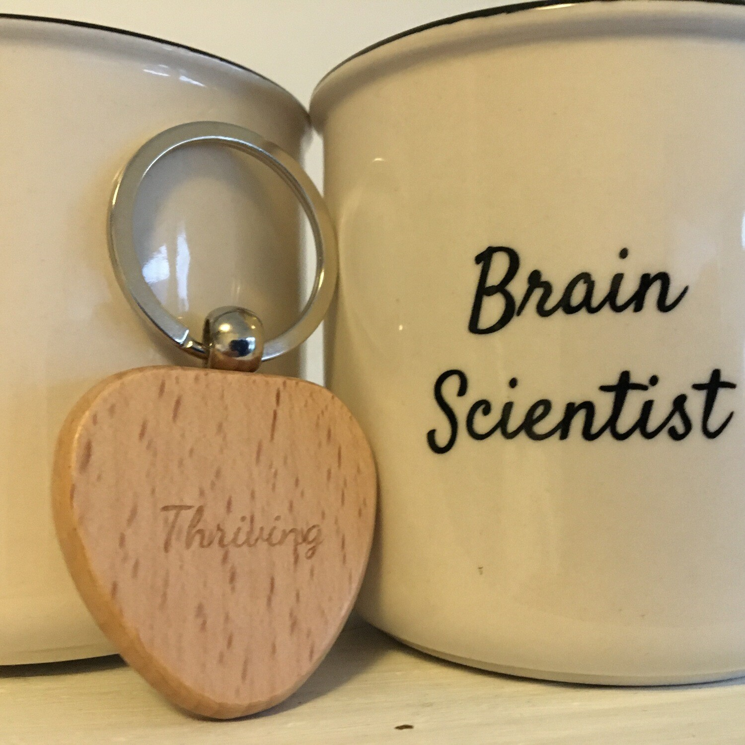 Thriving Language Brain Scientist Mug and Wooden Heart Keyring Set