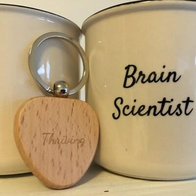 Thriving Language Brain Scientist Mug and Wooden Heart Keyring Set