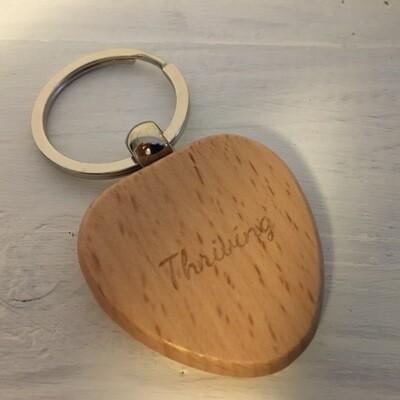"Thriving Language ""Thriving"" Wooden Heart Keyring"
