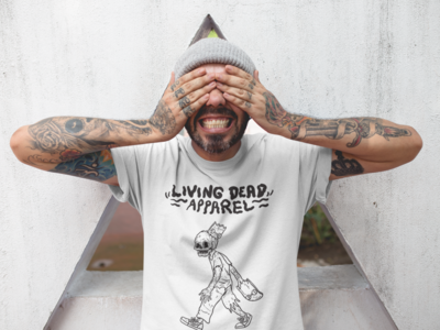 Zombie Skateboard Head Black T-Shirt