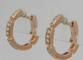 Rose Gold with diamond C-shaped Earrings
