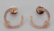 Rose Gold C-shaped earrings with Diamonds